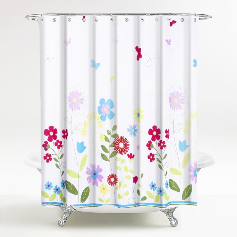 繁花世界系列 浴室涤纶防水浴帘布 夏日花园 宽180*高200cm