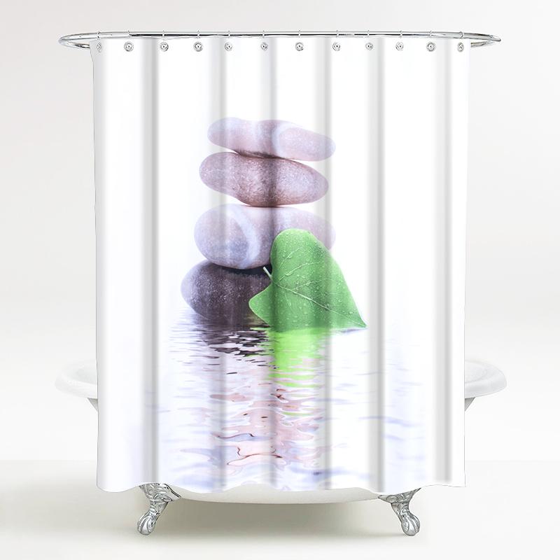 海洋风情系列 浴室防水浴帘印花 叶落石 宽180*高200cm
