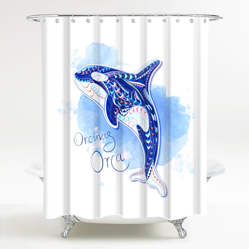 海洋风情系列 卫生间防水保暖浴帘 蓝鲸灵 宽180*高200cm