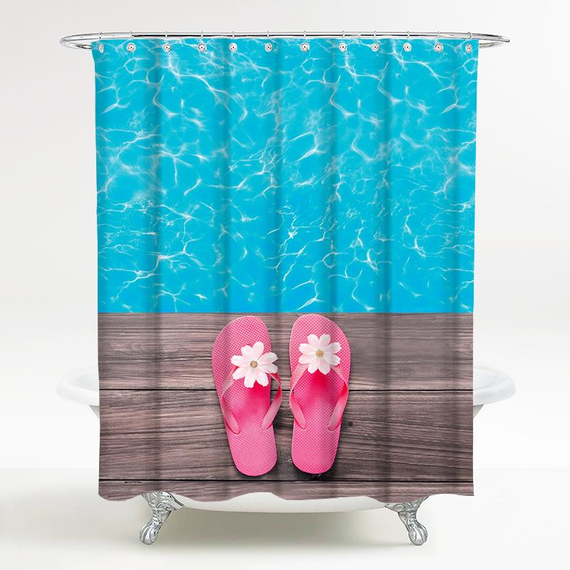 海洋风情系列 浴室防水风景浴帘 静谧时光 宽180*高200cm