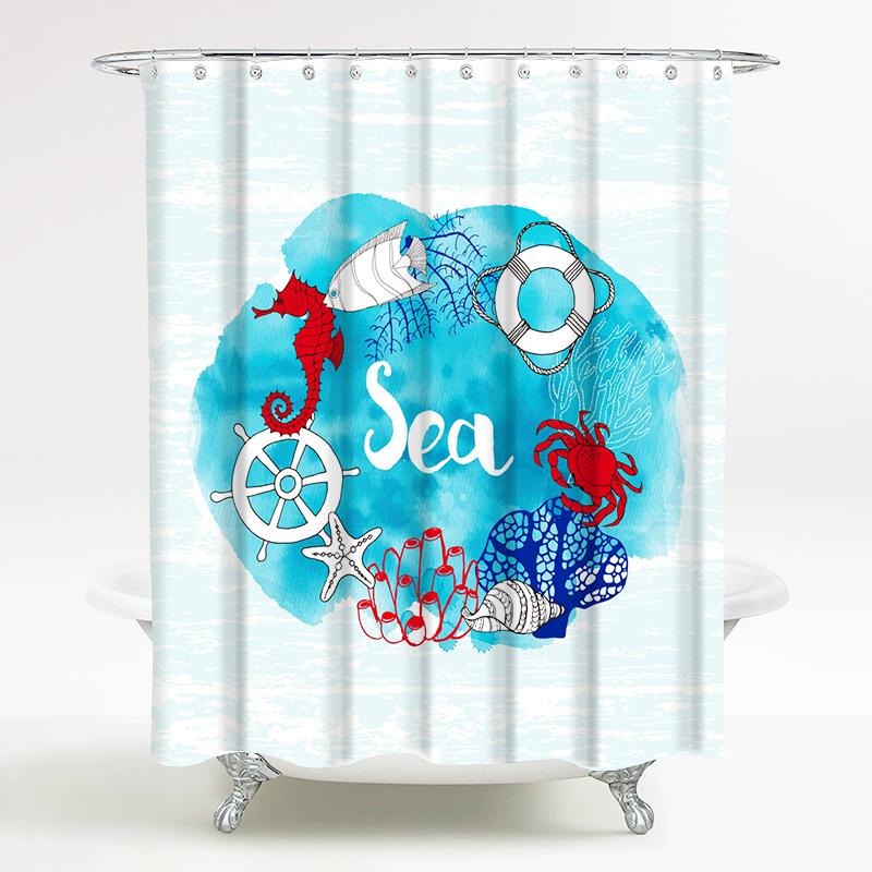 海洋风情系列 浴室防水卡通浴帘 海洋奇缘 宽180*高200cm