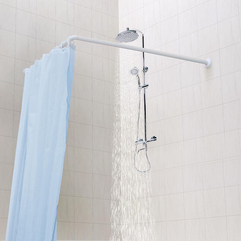 铝合金组合浴帘杆 适用墙角 L型KC290 白色 90*90cm